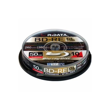 RiDATA 繰り返し録画用BD-RE(DL) 10枚パック (スピンドル) BDRE260PW2X10SPA