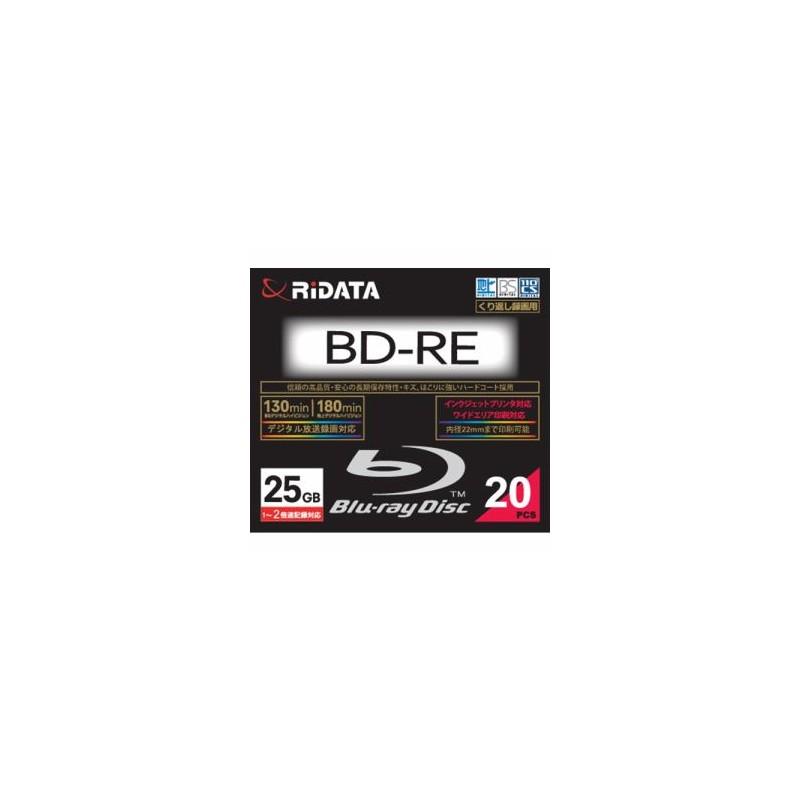 RiDATA BDRE130PW2X20PSCC 繰り返し録画用BD-RE ワイドプリントレーベルディスク 1~2倍速 25GB 20枚スリムケース